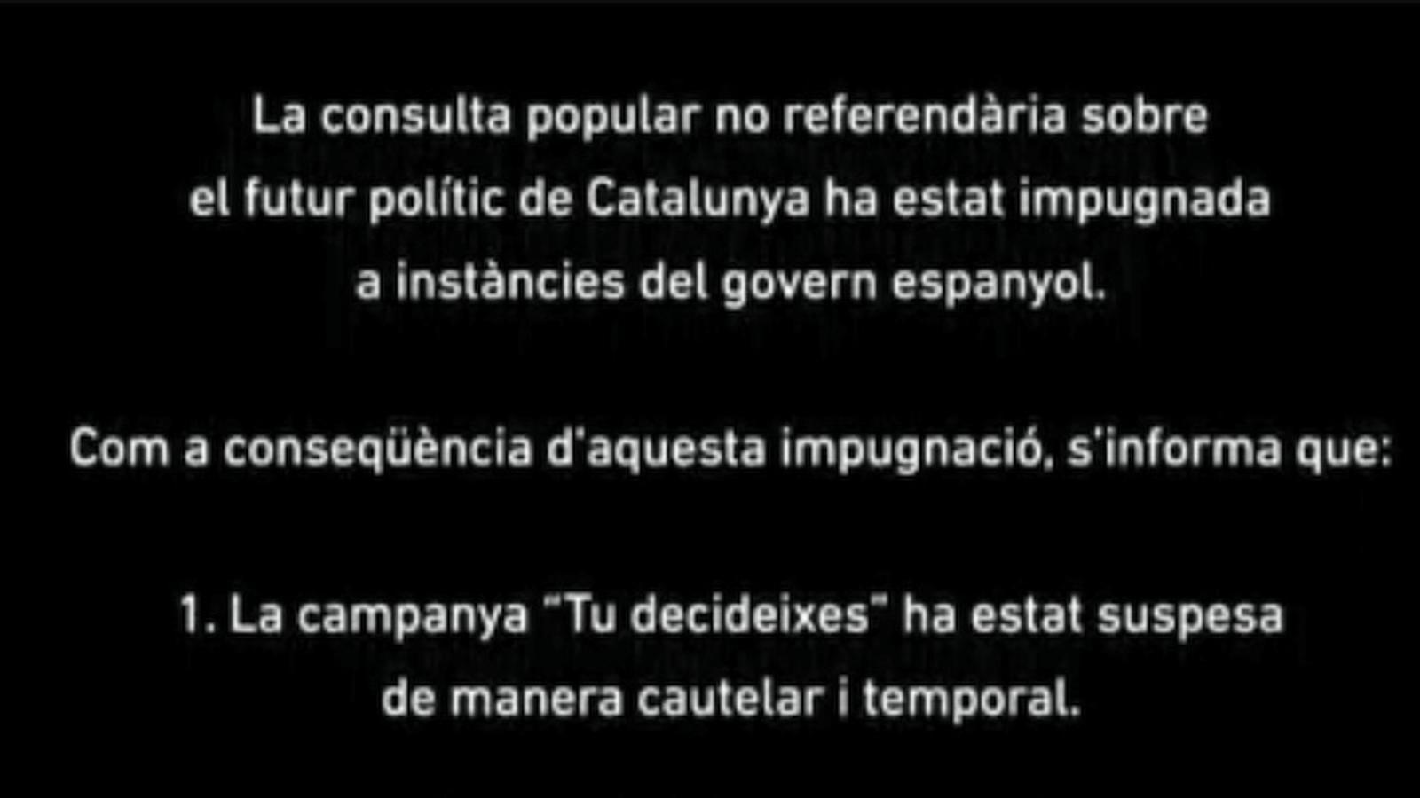 Vídeo institucional de la campanya del 9-N després de la prohibició del Tribunal Constitucional
