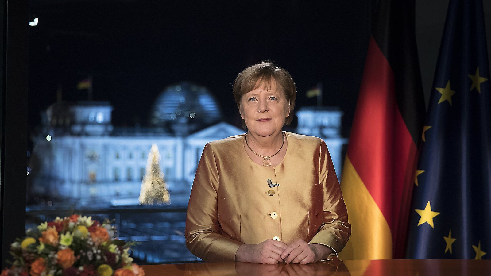 La cancellera alemanya, Angela Merkel, durant el seu últim missatge de Cap d'Any.