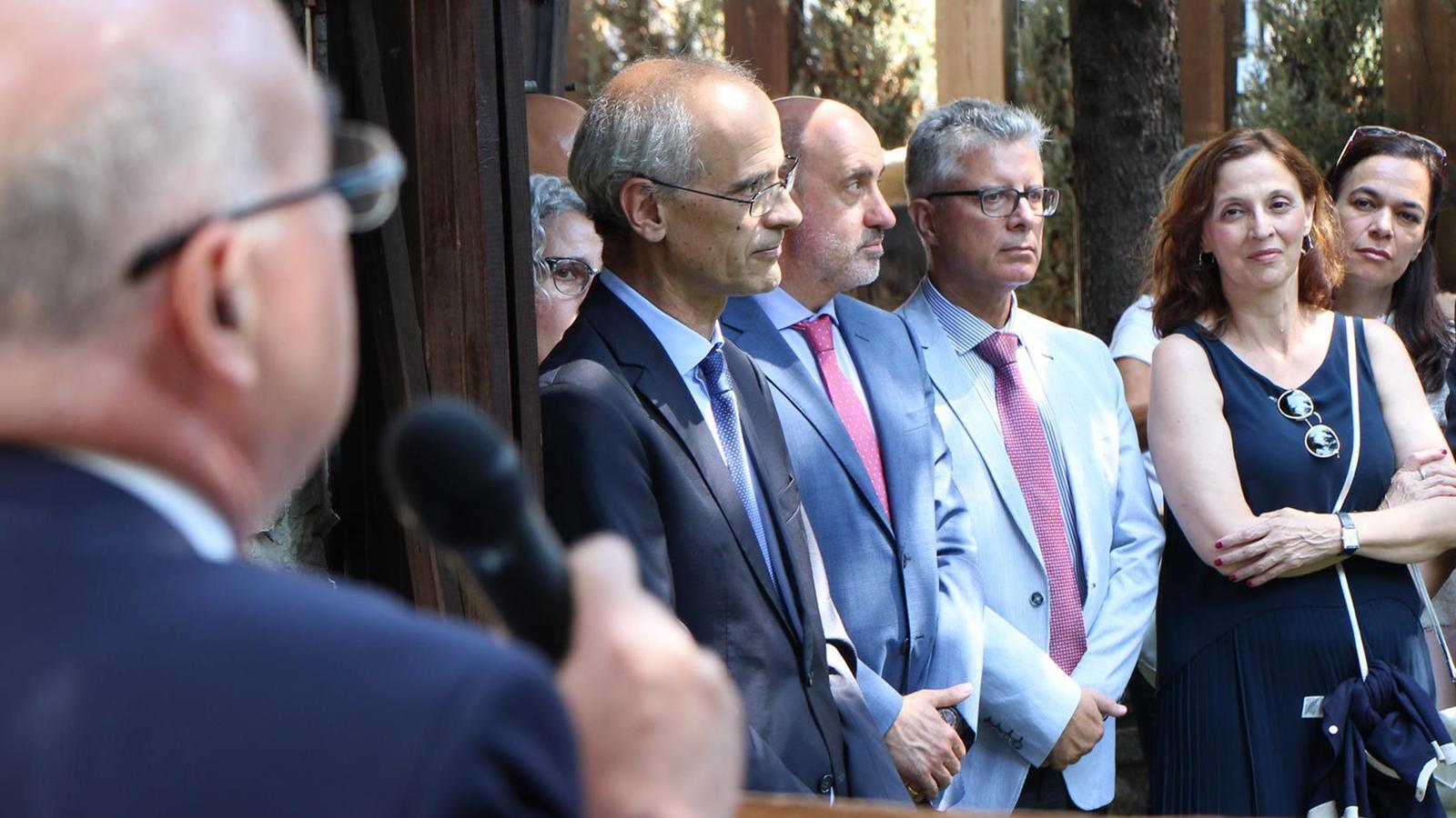 El cap de Govern, Toni Martí, a l'acte per acomiadar a fins ara ambaixador espanyol, Manuel Montobbio. / M.M. (ANA)