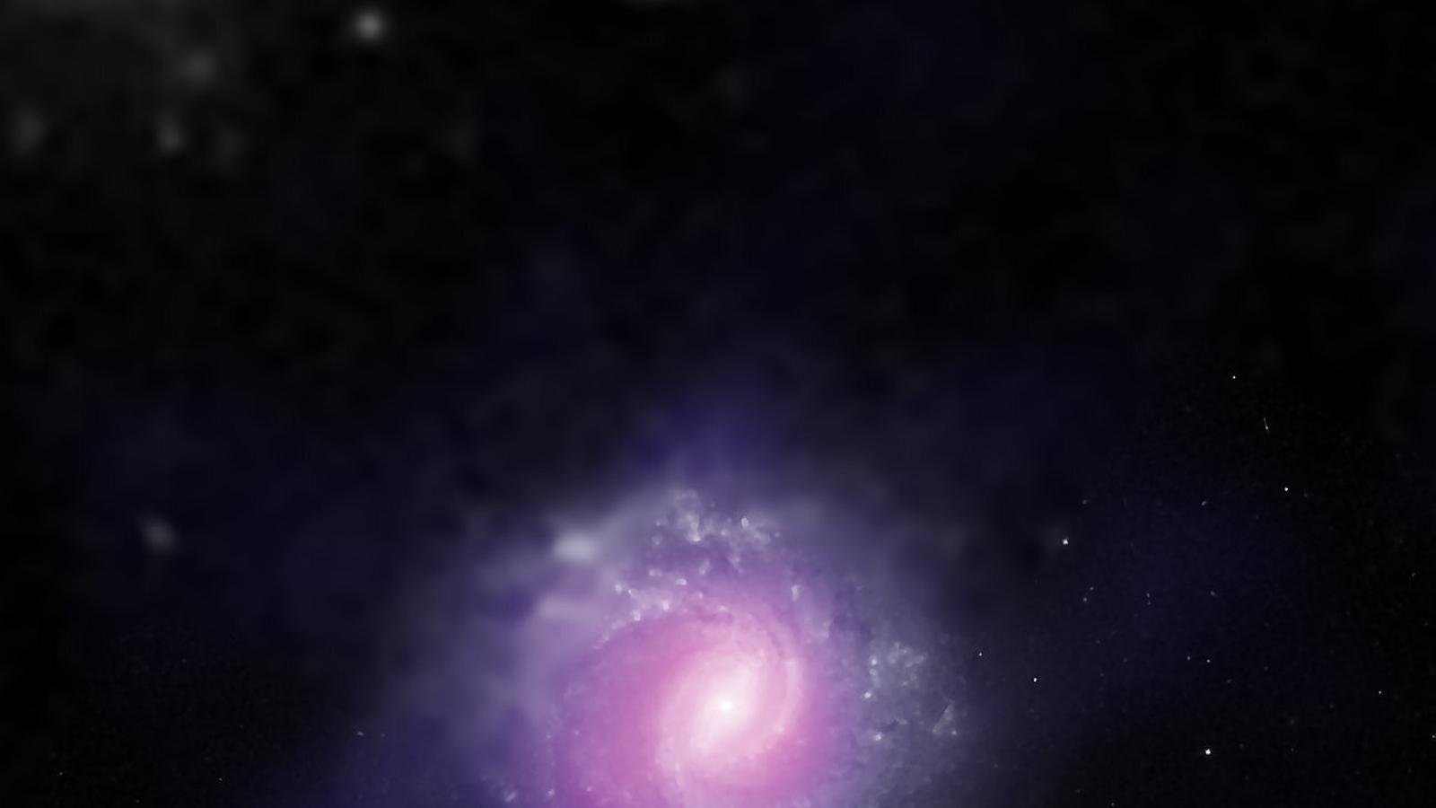 Imatge composta de raigs X i llum visible de la galàxia NGC 1068, a 47 milions d'anys llum de la Terra, captada el 2015 per diferents telescopis. Al centre hi ha un gran forat negre supermassiu actiu.