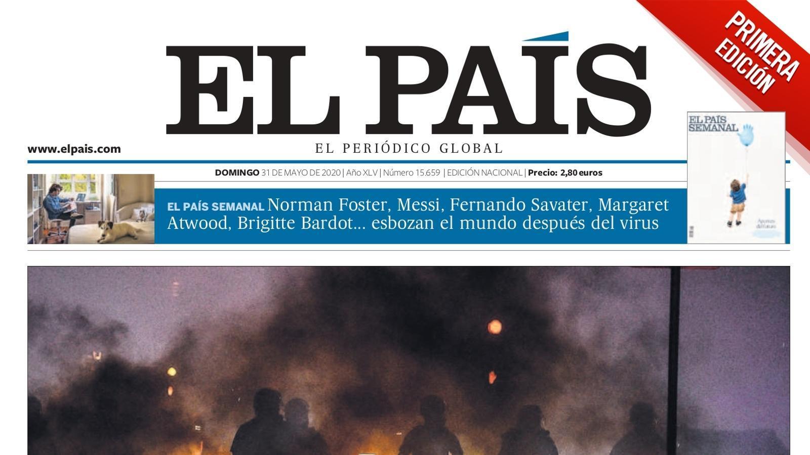La portada d''El País' del diumenge 31 de maig de 2020