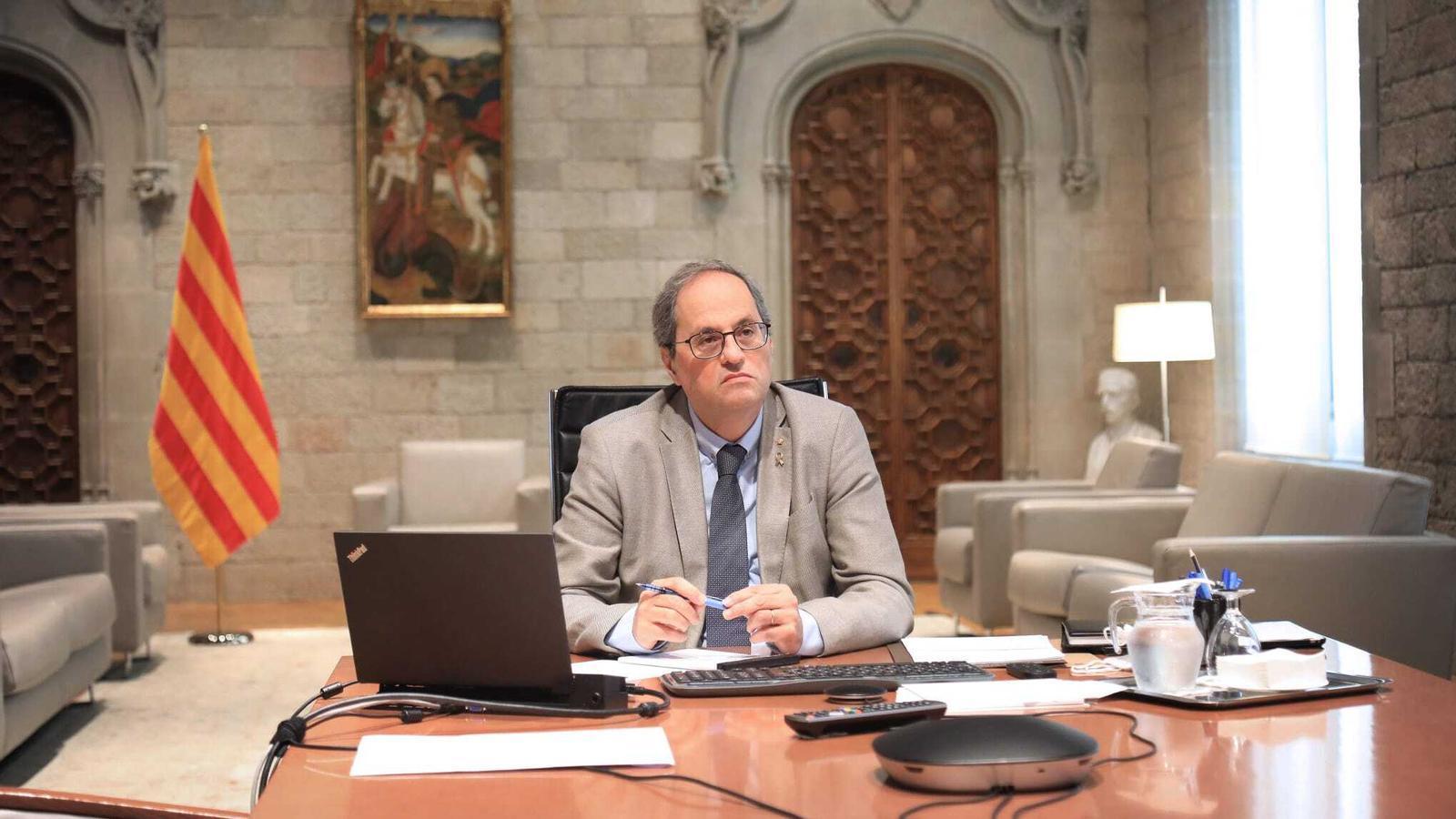 Torra trasllada a Sánchez el rebuig del Govern a l'estat d'alarma malgrat el pacte ERC-PSOE