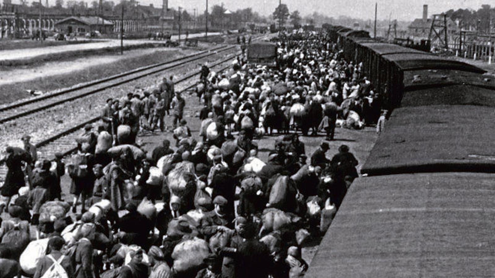 Centenars de jueus esperant un tren cap a Auschwitz, a Polònia, l'any 1944.