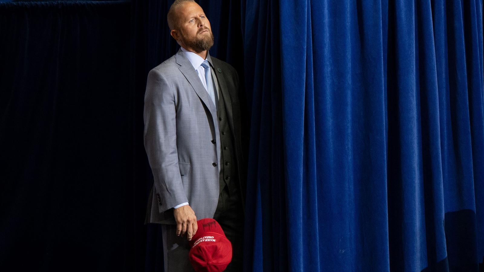 Brad Parscale, al darrere de l'escenari d'un míting de Trump a Houston, a principis del 2020