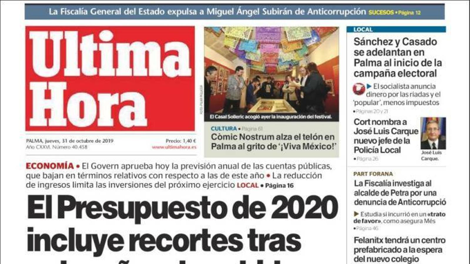 """""""El pressupost de 2020 inclou retallades després de 8 anys de pujades"""", a la portada d''Última Hora'"""