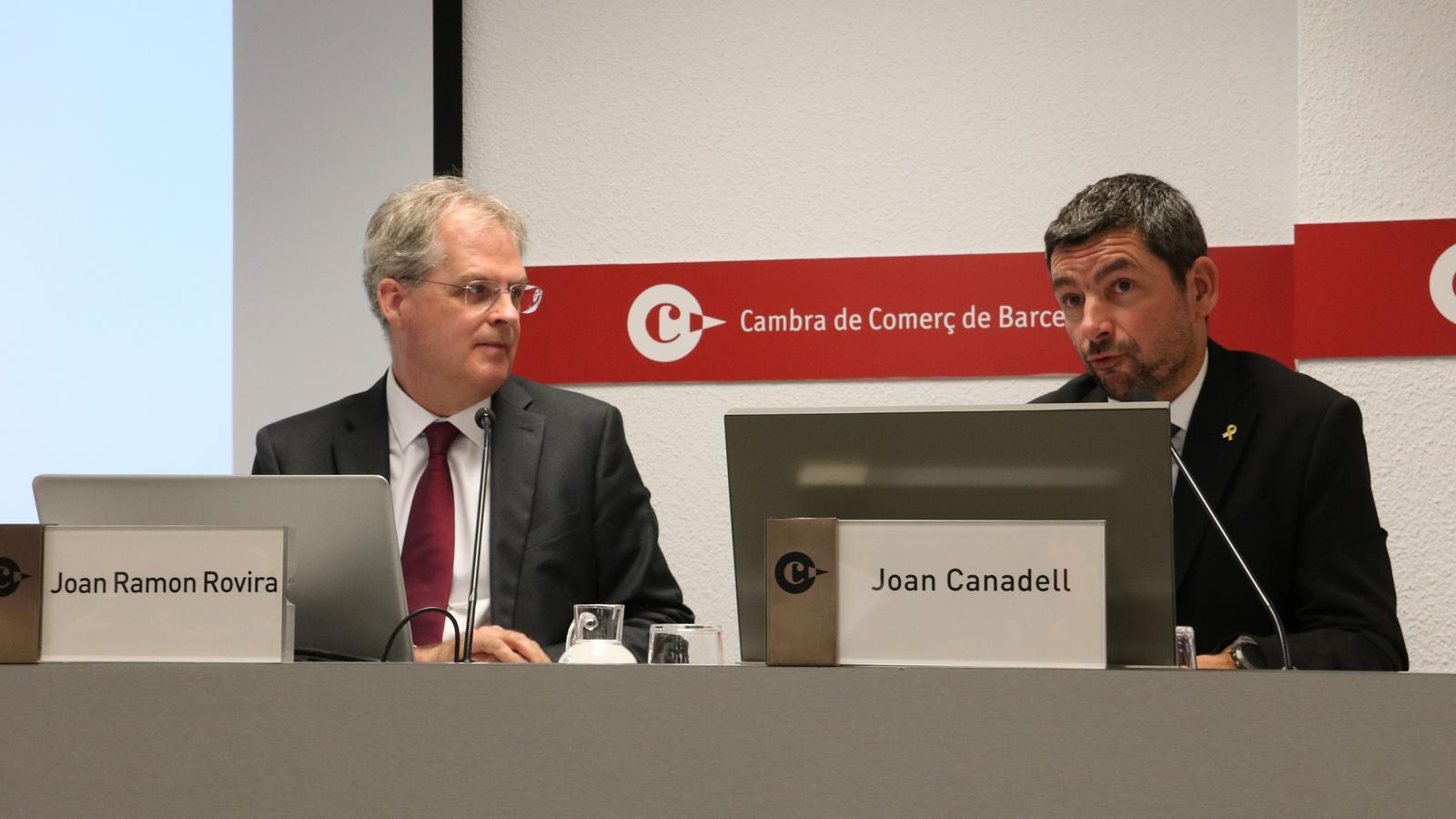 El cap d'estudis de la Cambra de Comerç, Joan Ramon Rovira, amb el president de l'ens, Joan Canadell, en una imatge del 2019.