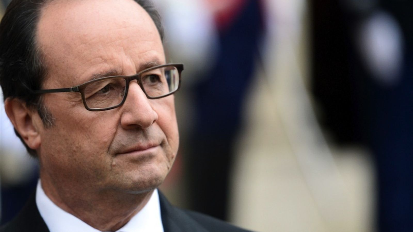 French President Francois Hollande looks on as he gives a statement on October 25, 2016 following his meeting with Andorra's head of government and Andorran Parliament President at the Elysee Presidential Palace in Paris.