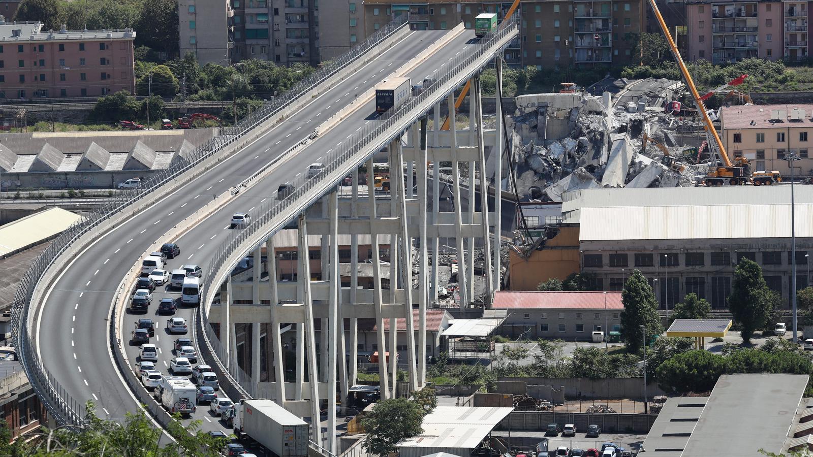 Imatge del pont de Gènova, l'esfondrament del qual va causar almenys 38 morts