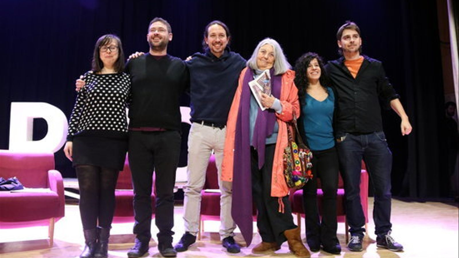 Pablo Iglesias, al costat d'Albano Fachin i també Noelia Bail, l'any 2017