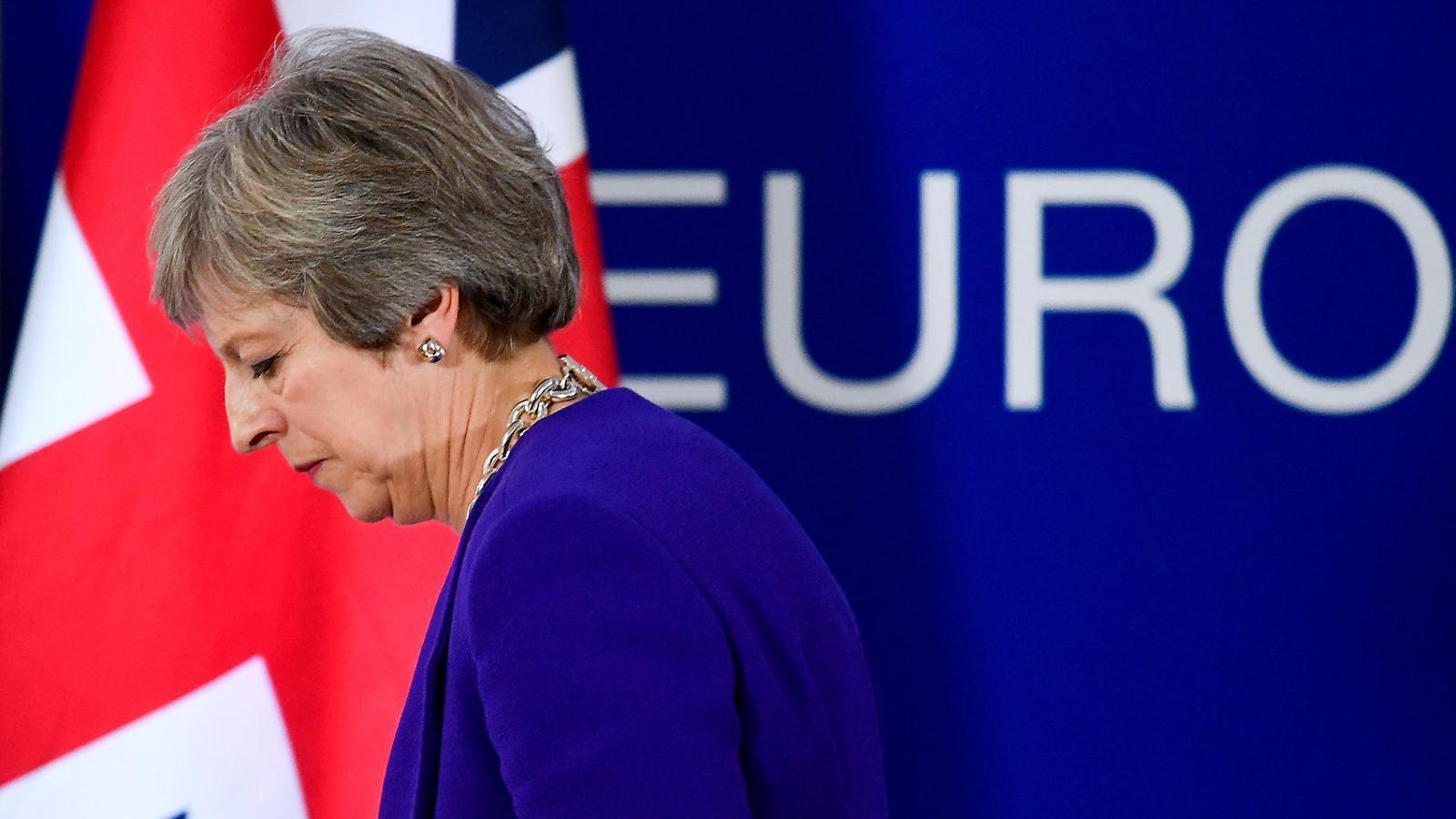 La primera ministra britànica, Theresa May, després de fer una roda de premsa ahir a Brussel·les.