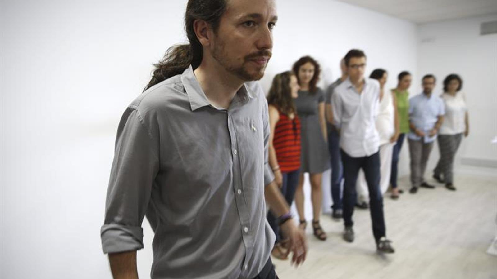 El líder de Podem, Pablo Iglesias, en una imatge d'aquest dilluns / EFE