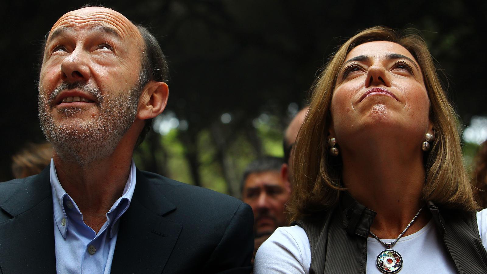 Rubalcaba i Chacón s'enfrontaran, previsiblement, per liderar  el PSOE. A la foto, a la Festa de la Rosa a Gavà.