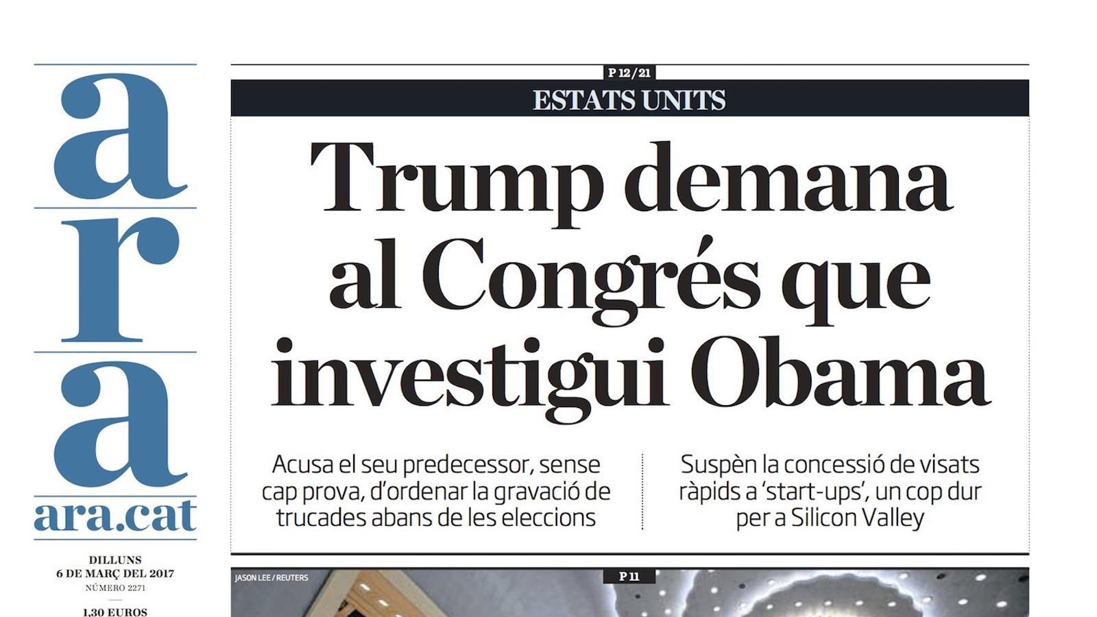 """""""Trump demana al Congrés que investigui Obama"""", portada de l'ARA"""