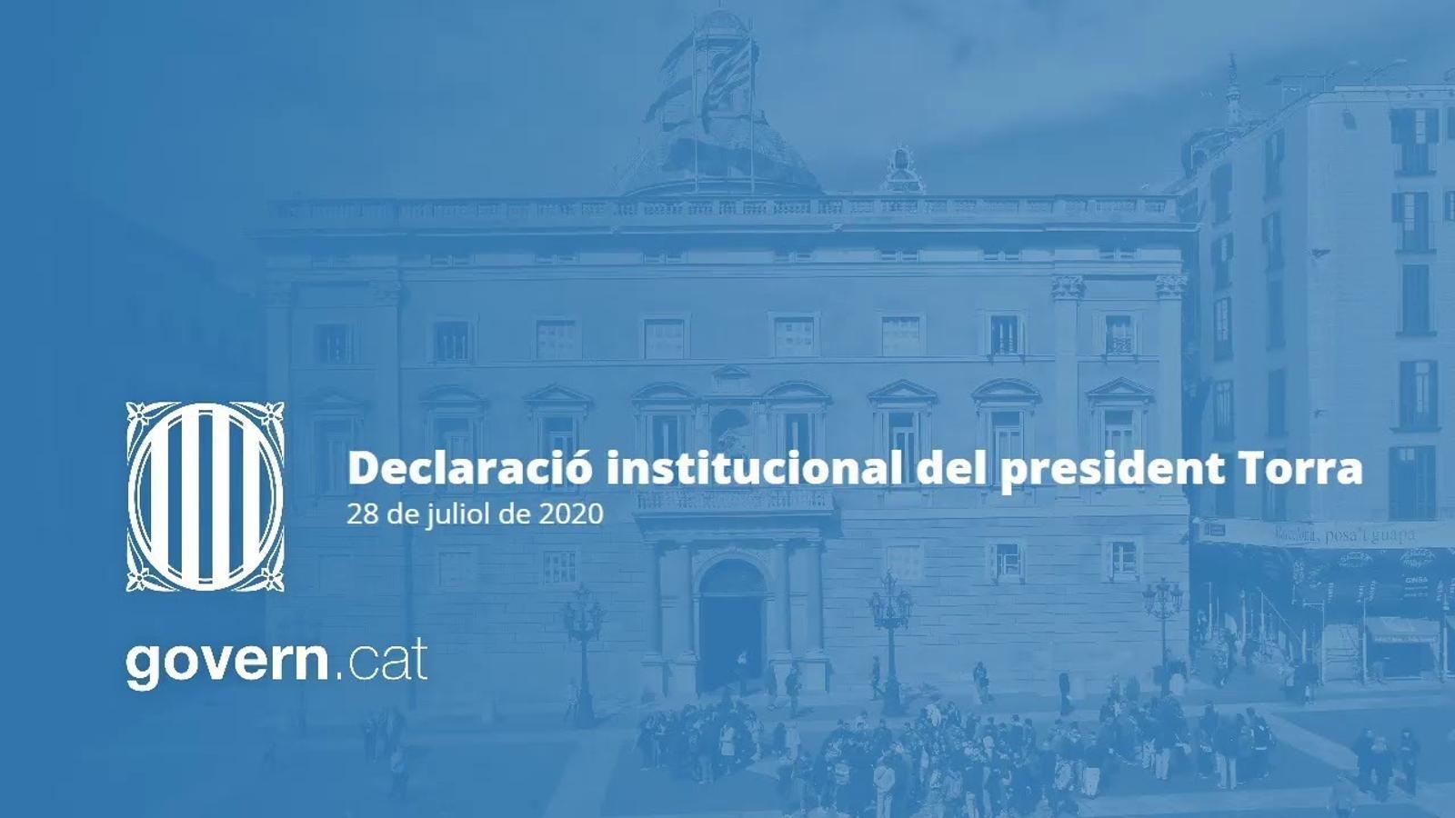 Declaració institucional del president Torra