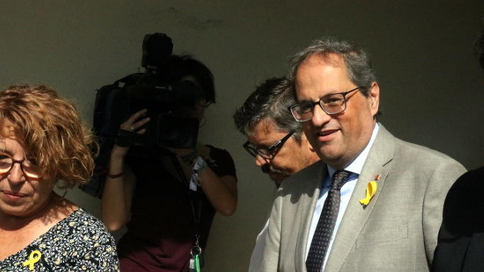 El president de la Generalitat, Quim Torra, durant la seva visita a Perpinyà