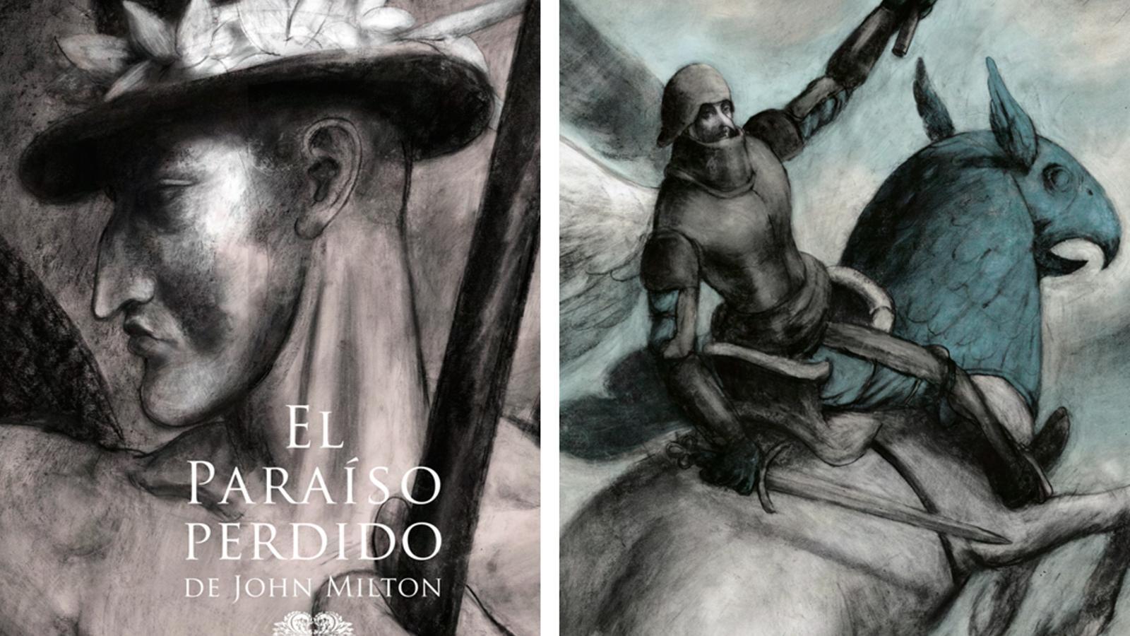 La portada i una de les il·lustracions de l'obra 'El paraíso perdido' dibuixada per Pablo Auladell