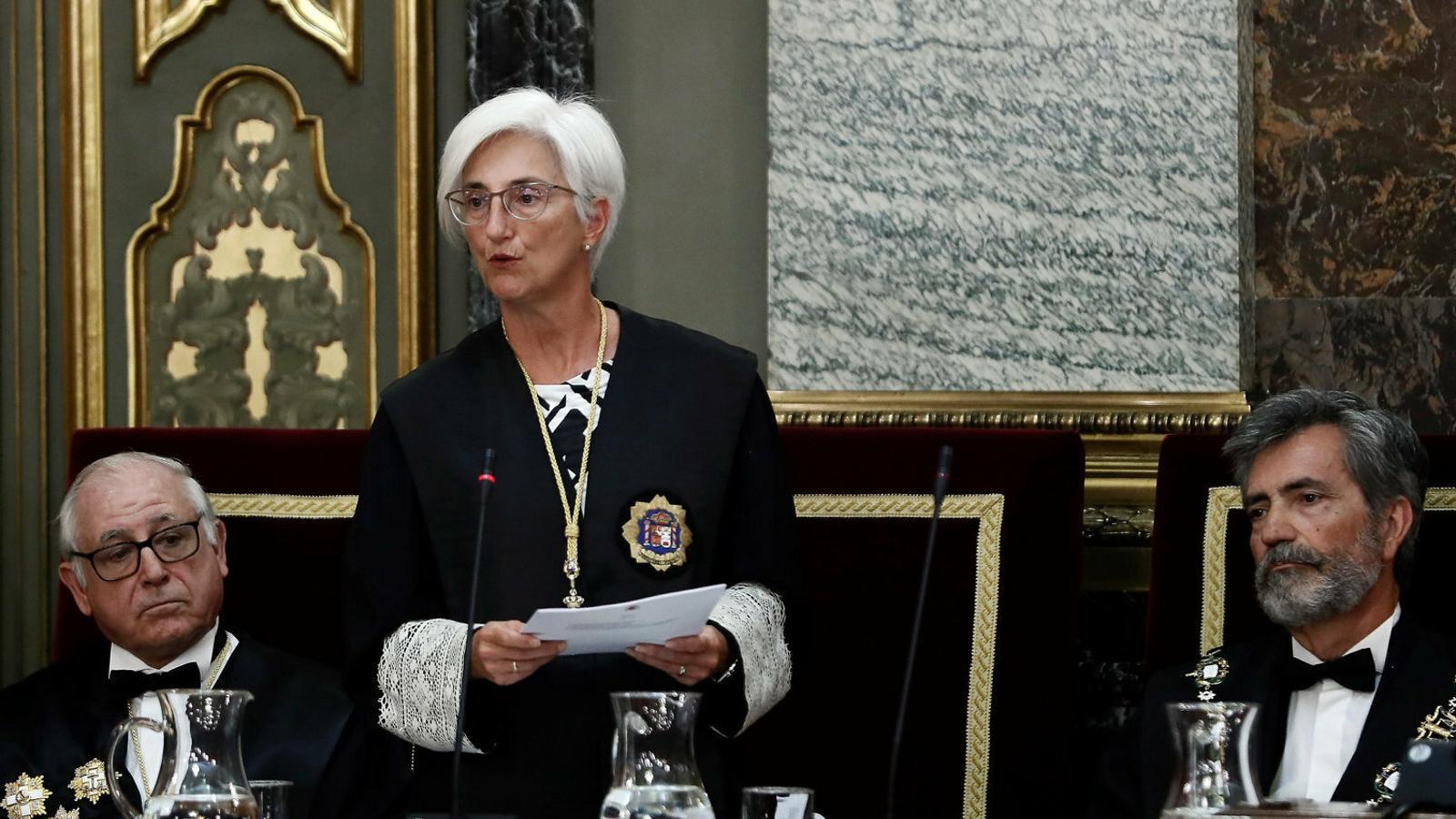 La fiscal general de l'Estat, María José Segarra, durant la inauguració de l'any judicial al Tribunal Suprem. / EFE