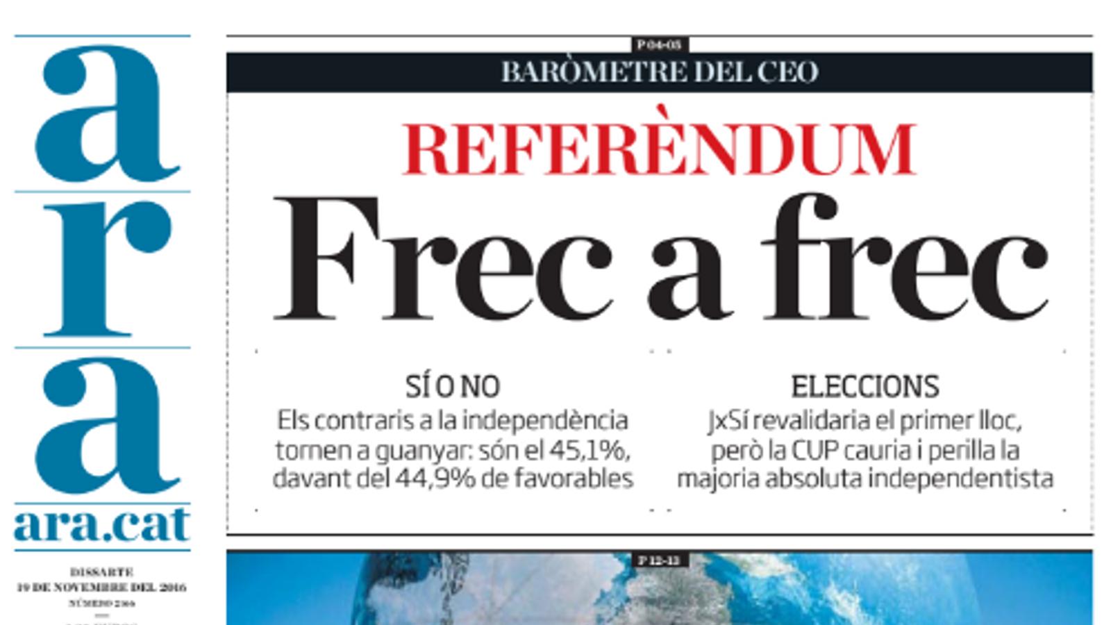 """""""Referèndum: frec a frec"""", portada de l'ARA d'aquest dissabte"""