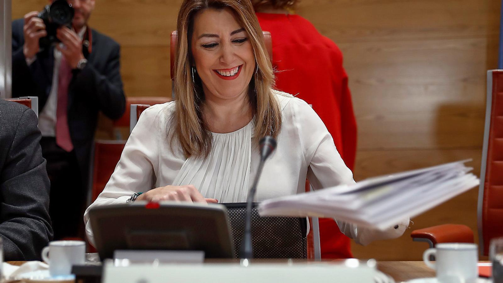 La presidenta de la Junta d'Andalusia, la socialista Susana Díaz, durant la compareixença d'ahir al Senat.
