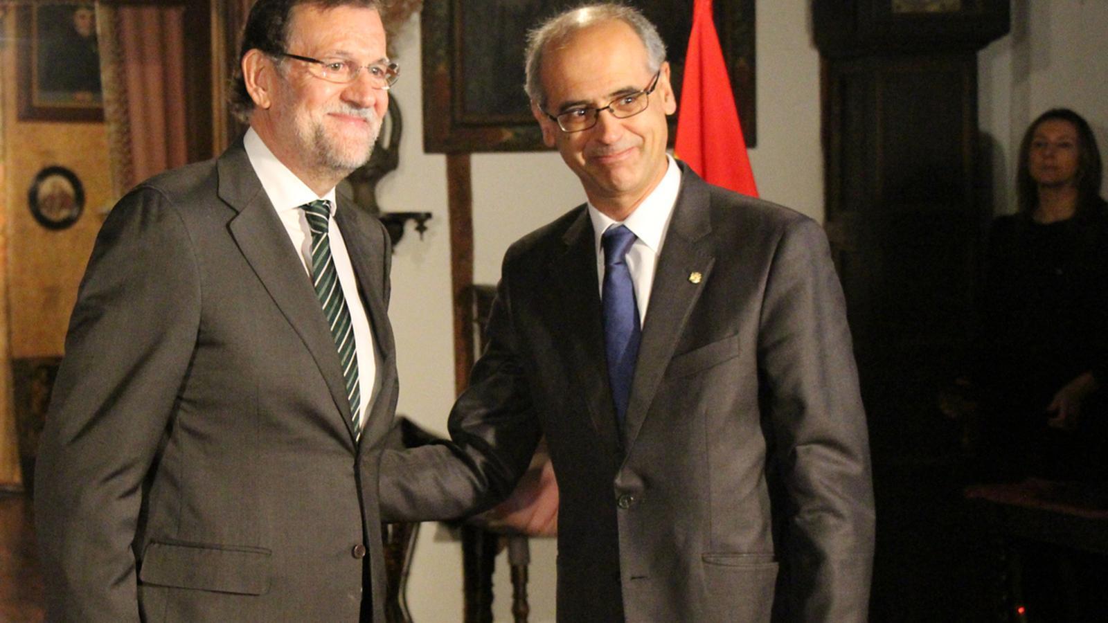 Mariano Rajoy i Toni Martí durant la seva visita a Andorra / ANA