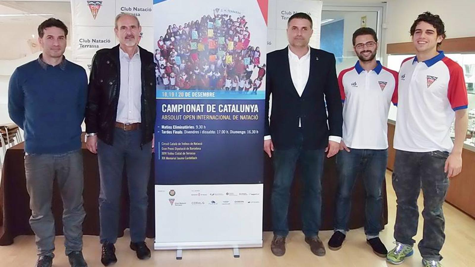 Un instant de la presentació del Campionat de Catalunya Absolut OPEN que es disputa a Terrassa / CN TERRASSA