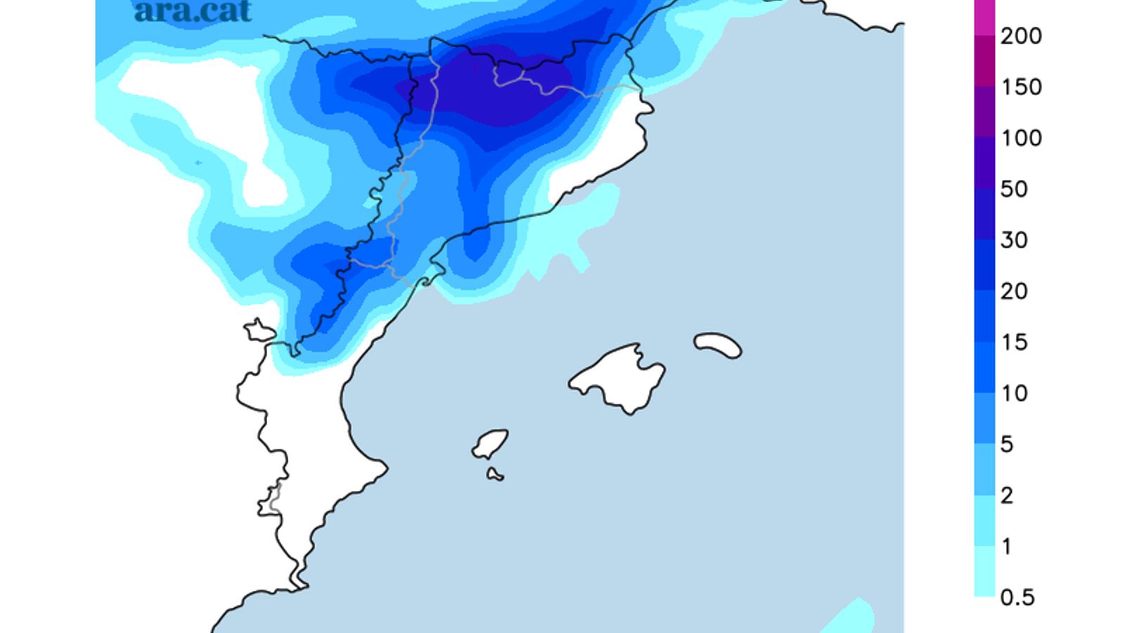 Pluja prevista per divendres / Model GFS - ARAméteo