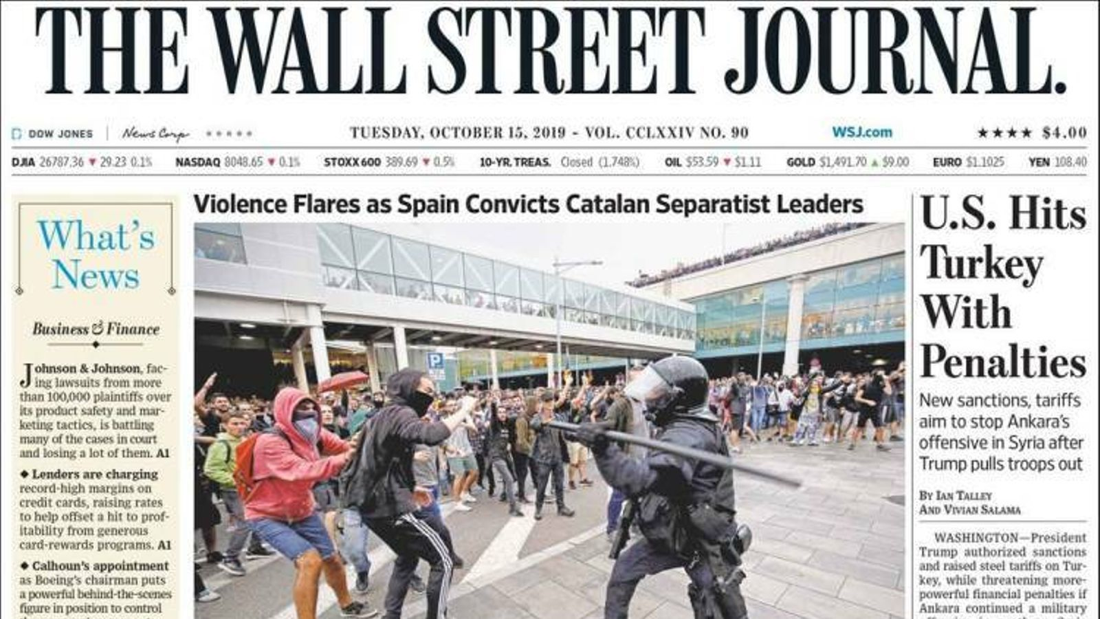 """""""Esclat de violència per la condemna d'Espanya als líders  catalans"""", portada de 'The Wall Street Journal'"""