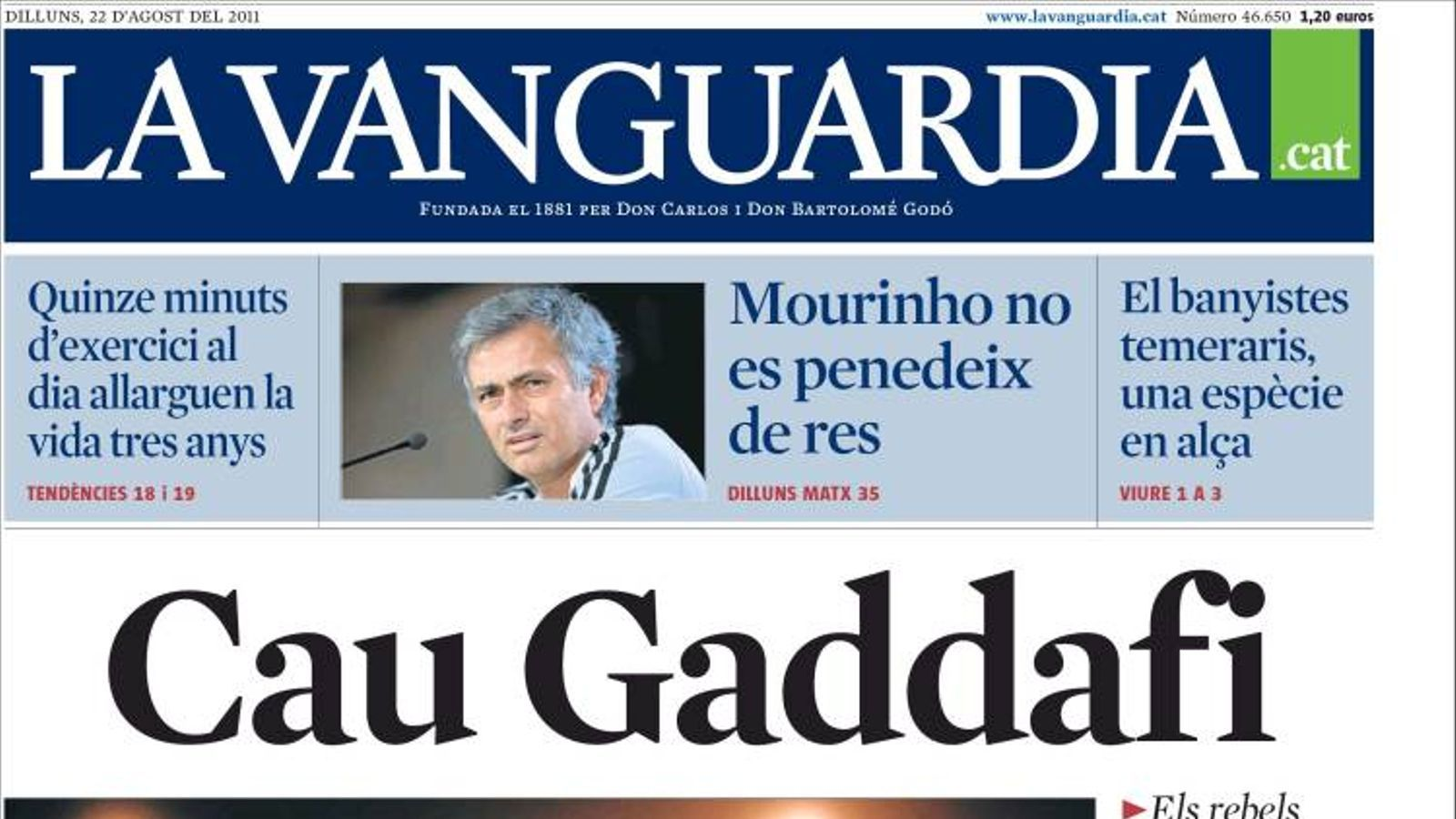Cau gaddafi a la portada de 39 la vanguardia 39 - Portada de la vanguardia ...