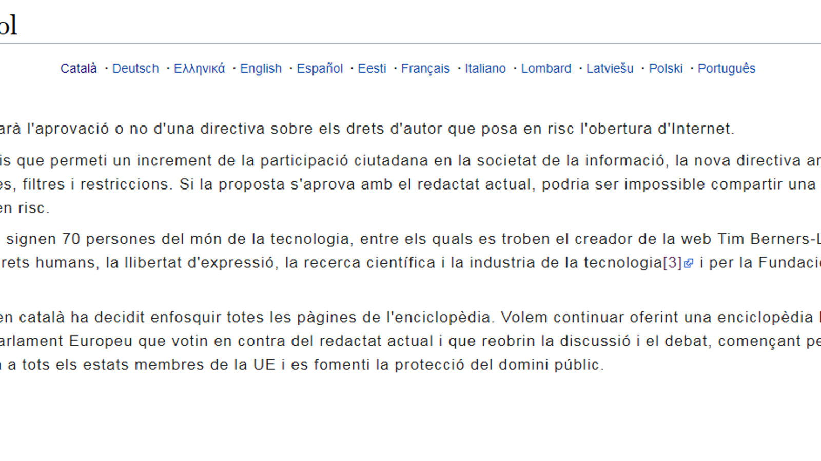 La Viquipèdia tanca temporalment contra la nova directiva europea de drets d'autor
