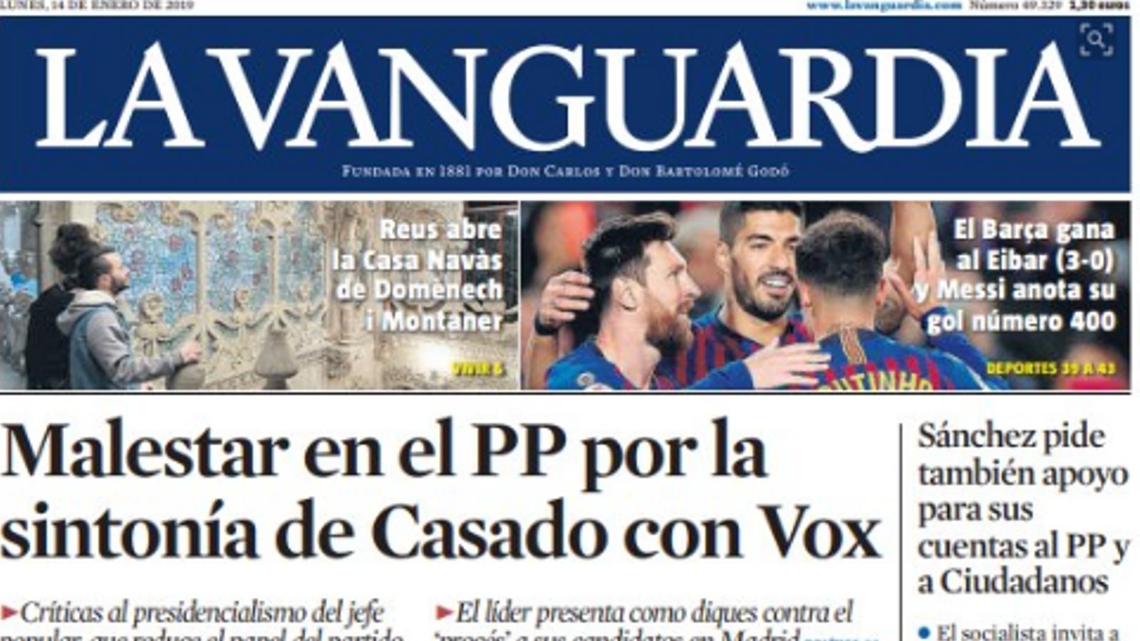 """""""Malestar al PP per la sintonia de Casado amb Vox"""", a la portada de 'La Vanguardia'"""