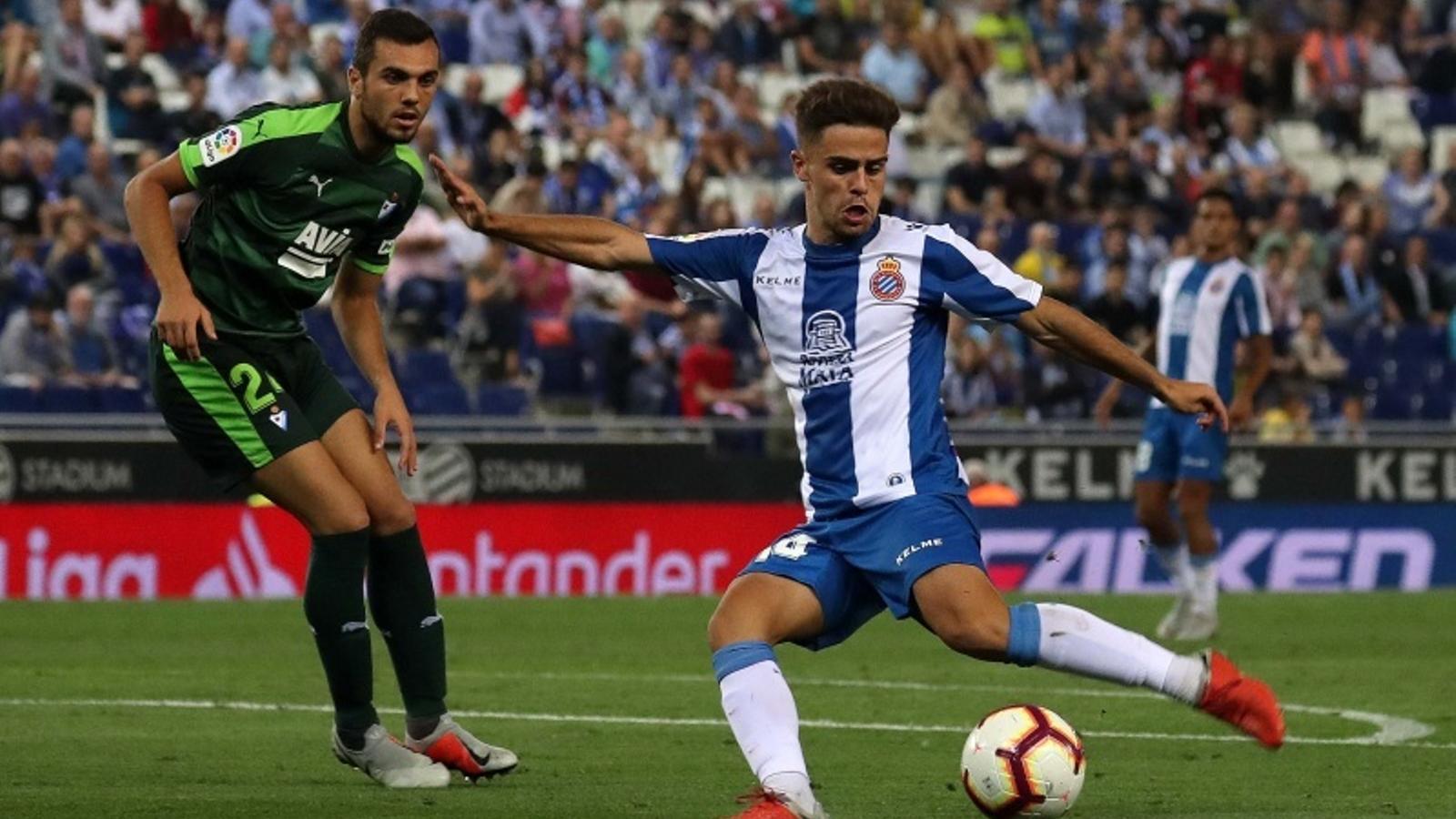 Melendo i Jordán, durant l'Espanyol-Eibar de la primera volta