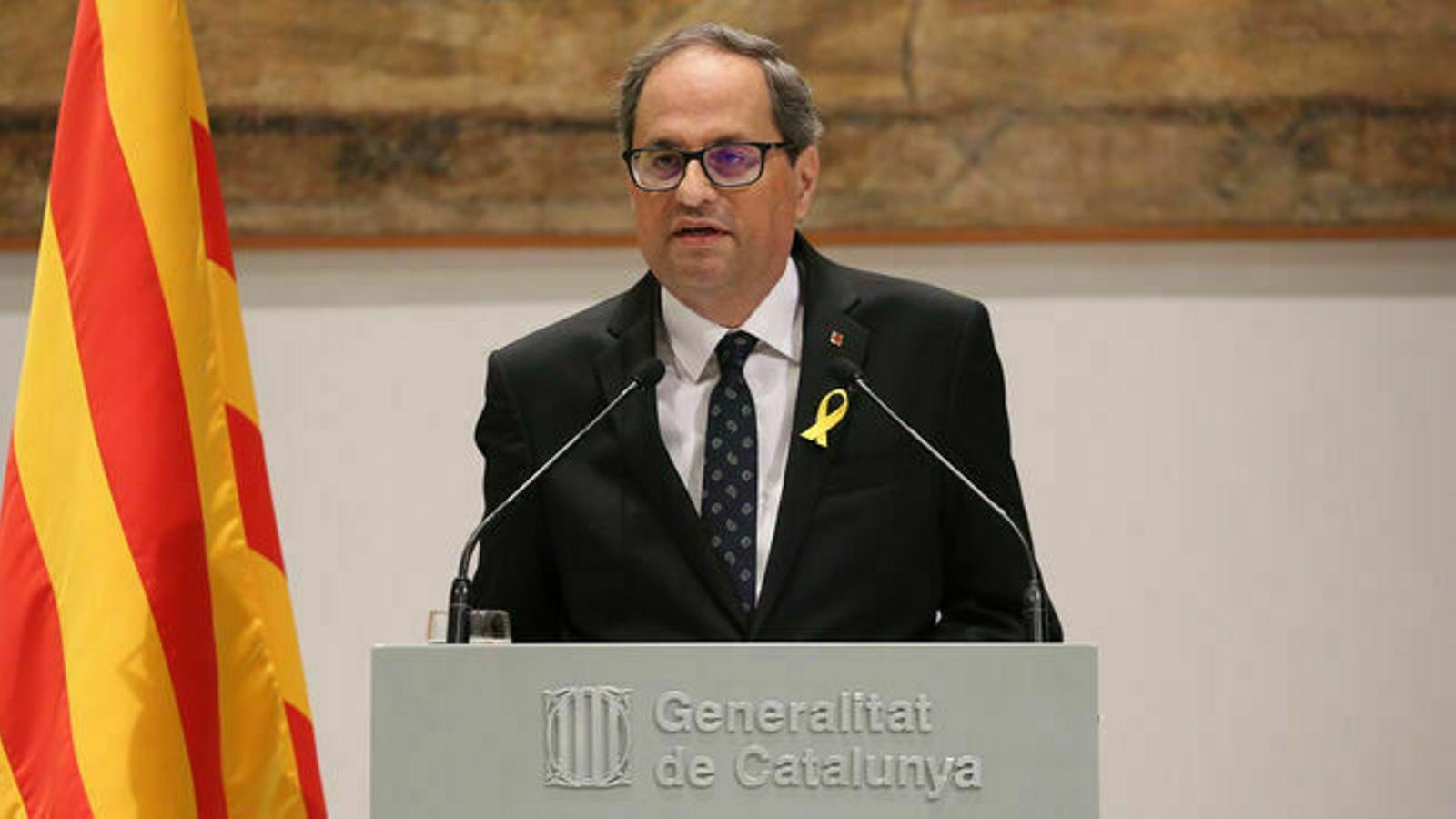 Quim Torra compareix després de la videoconferència de presidents autonòmics amb Pedro Sánchez