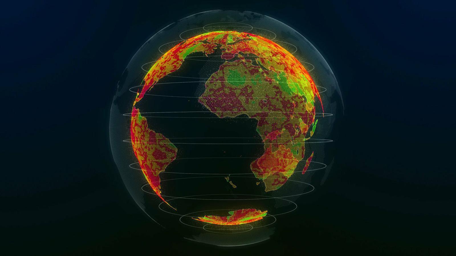 Mapa de l'augment de la temperatura de la Terra obtingut a partir d'un model climàtic