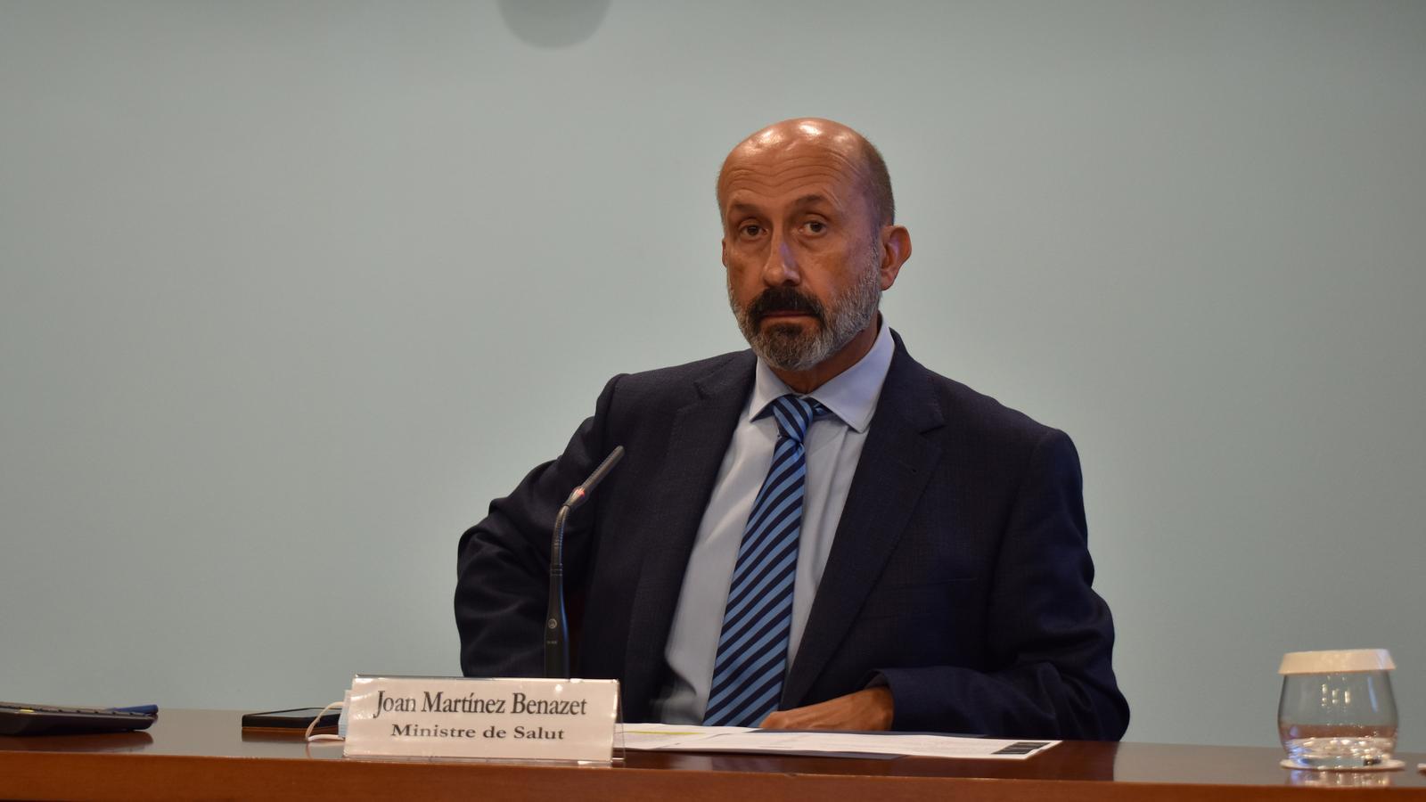 El ministre de Salut, Joan Martínez Benazet, aquest dimecres durant la roda de premsa posterior al Consell de Ministres