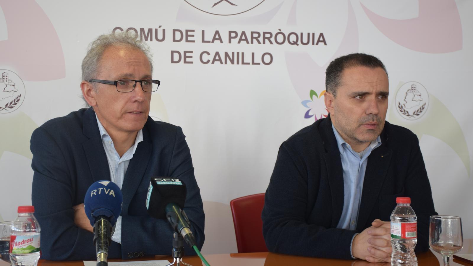 El cònsol major, Francesc Camp, i el cònsol menor, Marc Casal, durant la roda de premsa. / A.S.