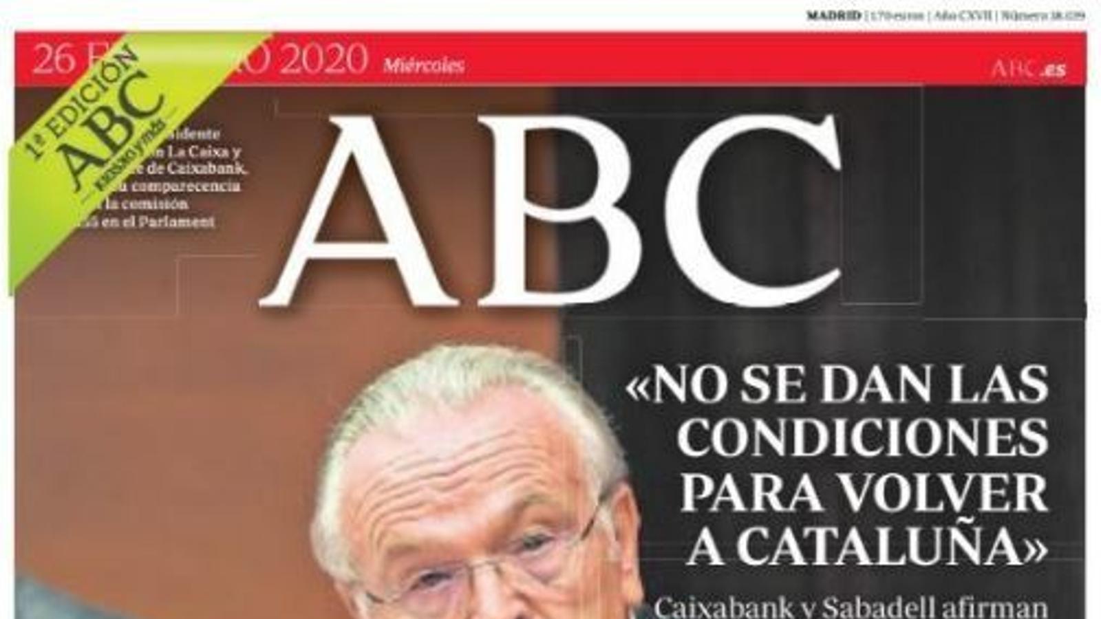 Portada de l'Abc, 26 de febrer del 2020