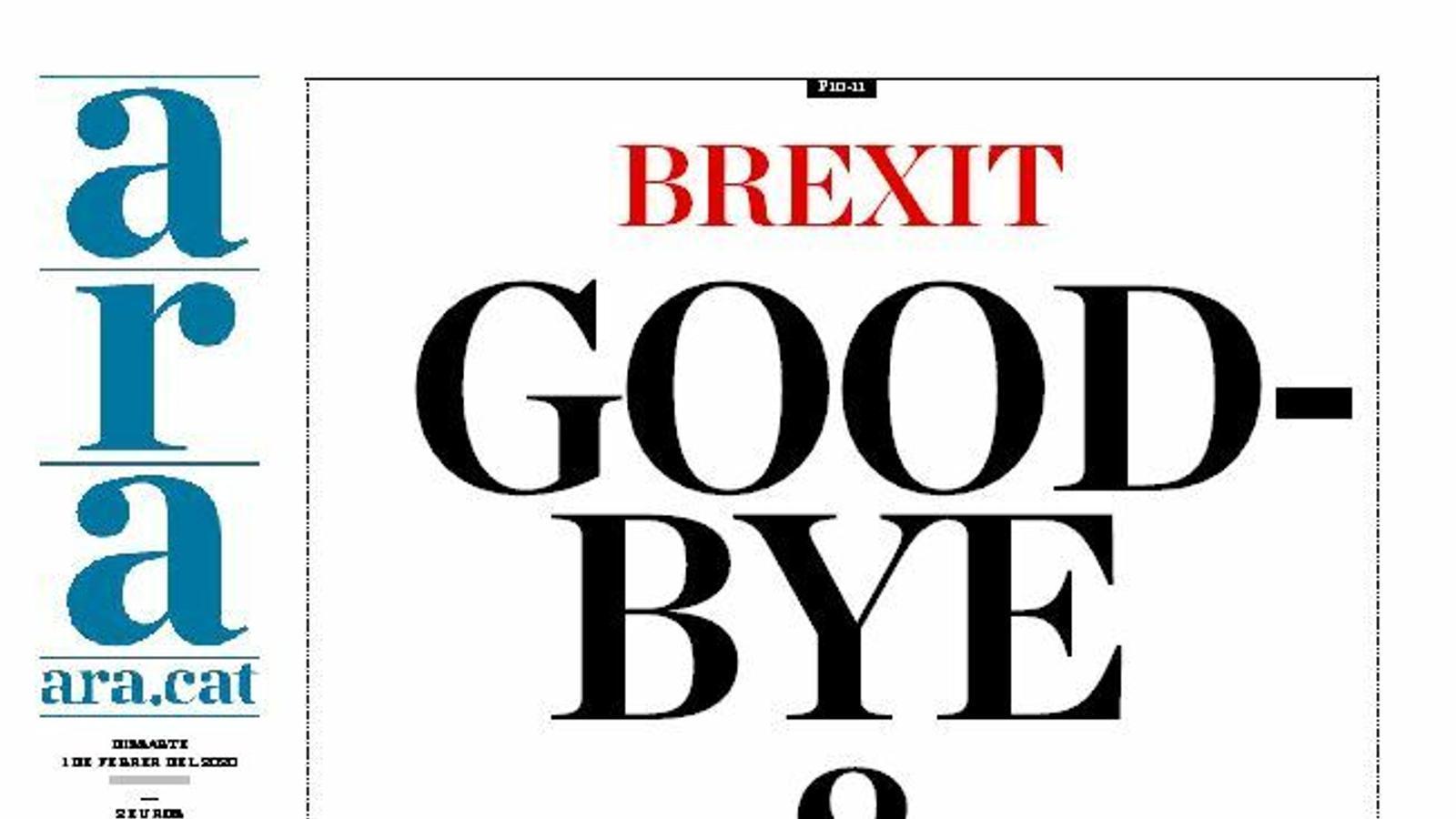 """""""Brexit: 'Good-bye & good-luck'"""", portada de l'ARA"""