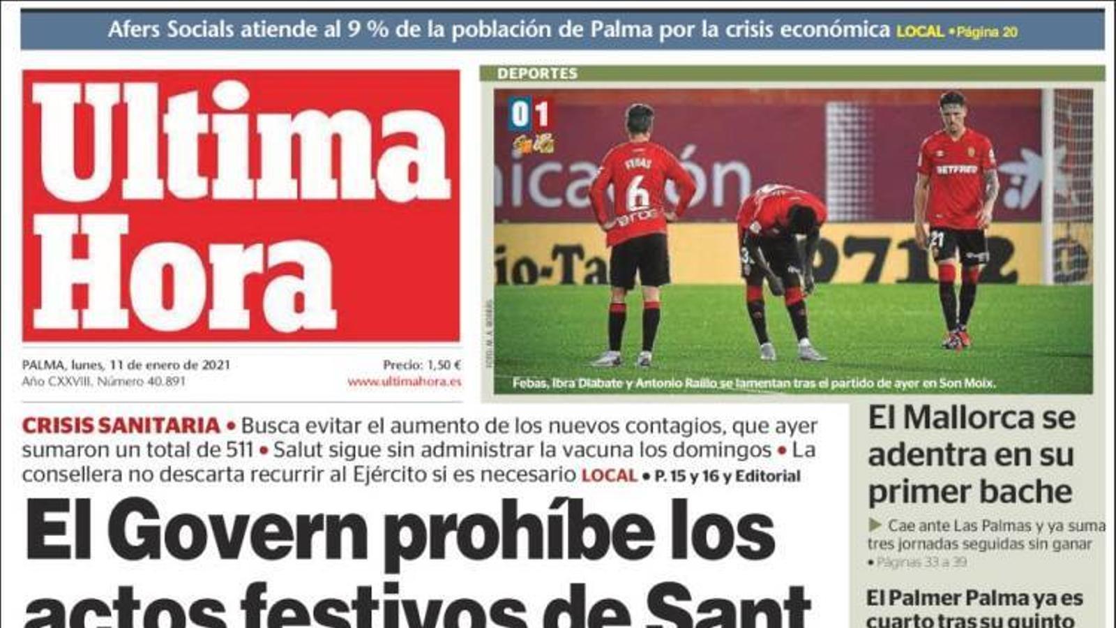 """""""El Govern prohibeix els actes festius de Sant Antoni i Sant Sebastià, portada d''Última Hora'"""