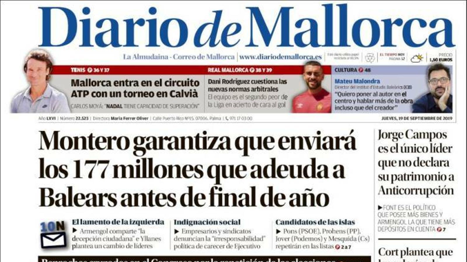 """""""Montero garanteix que enviarà els 177 milions que deu a Balears abans de final d'any"""", portada de 'Diario de Mallorca'"""