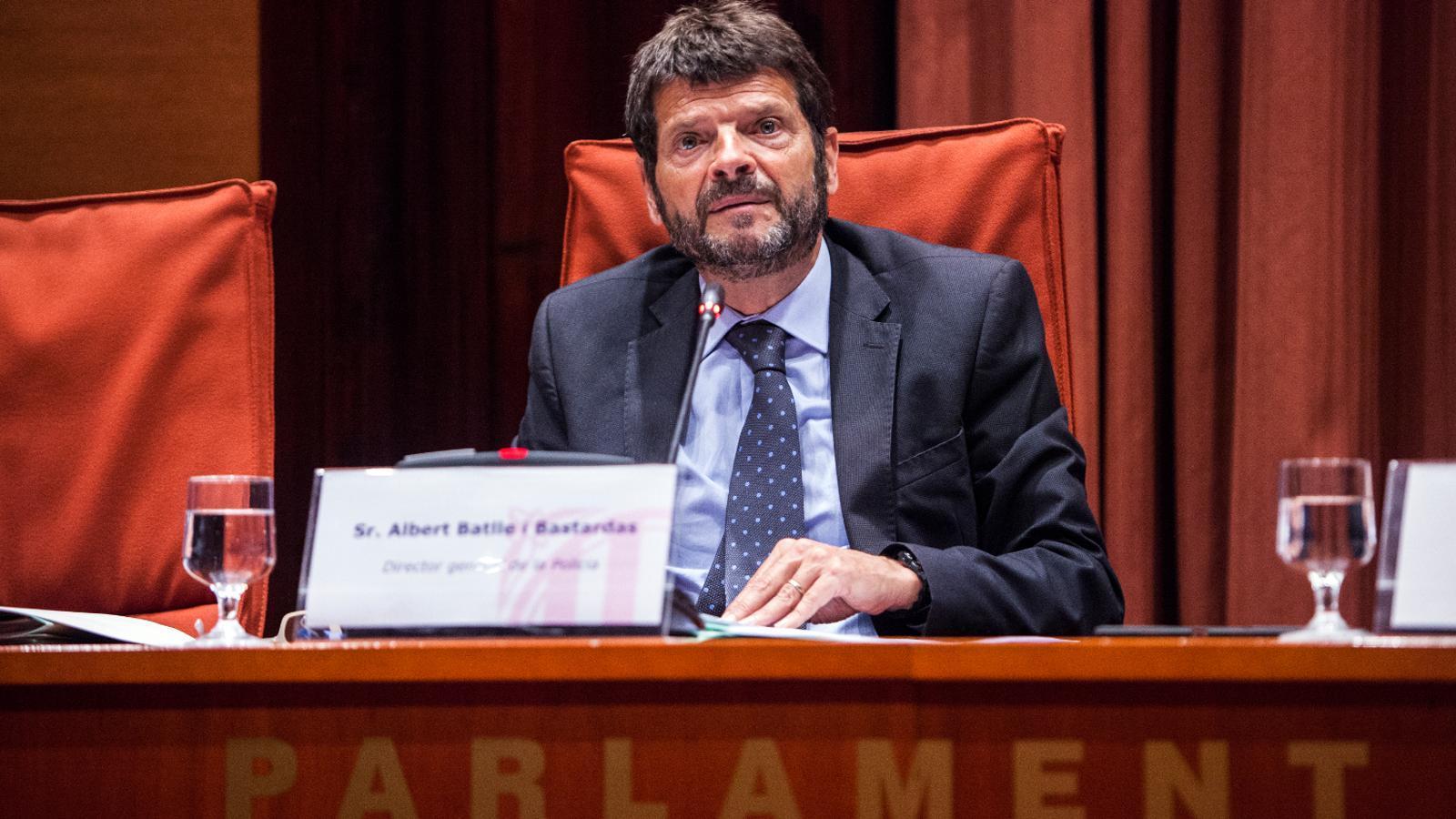 Albert Batlle, director general de la Policia, a la compareixença del Parlament