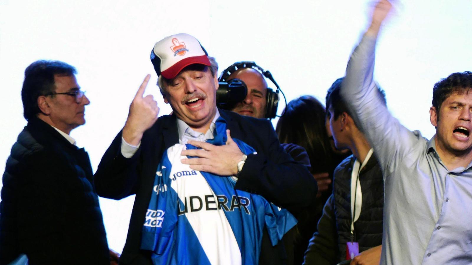 Alberto Fernández, candidat peronista, després de saber-se guanyador de les primàries