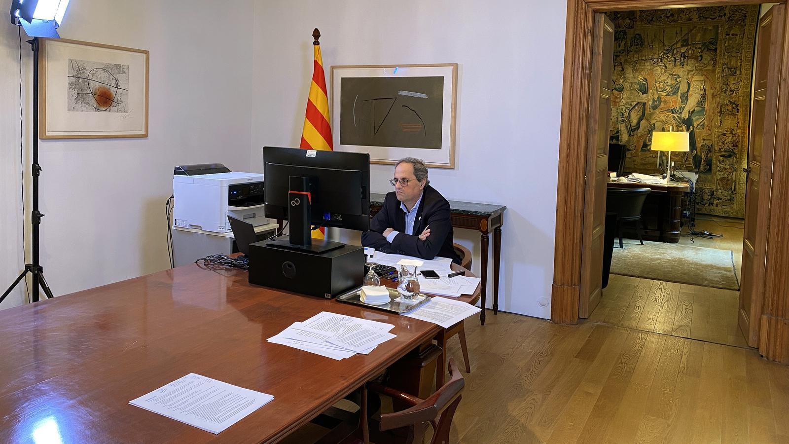 Imatge d'arxiu del president Torra confinat a la Casa dels Canonges