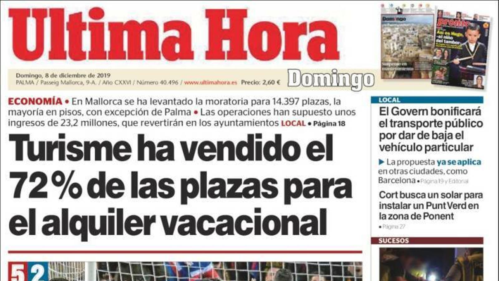 """""""Turisme ha venut el 72% de la places per al lloguer vacacional"""", portada de l''Última Hora'"""