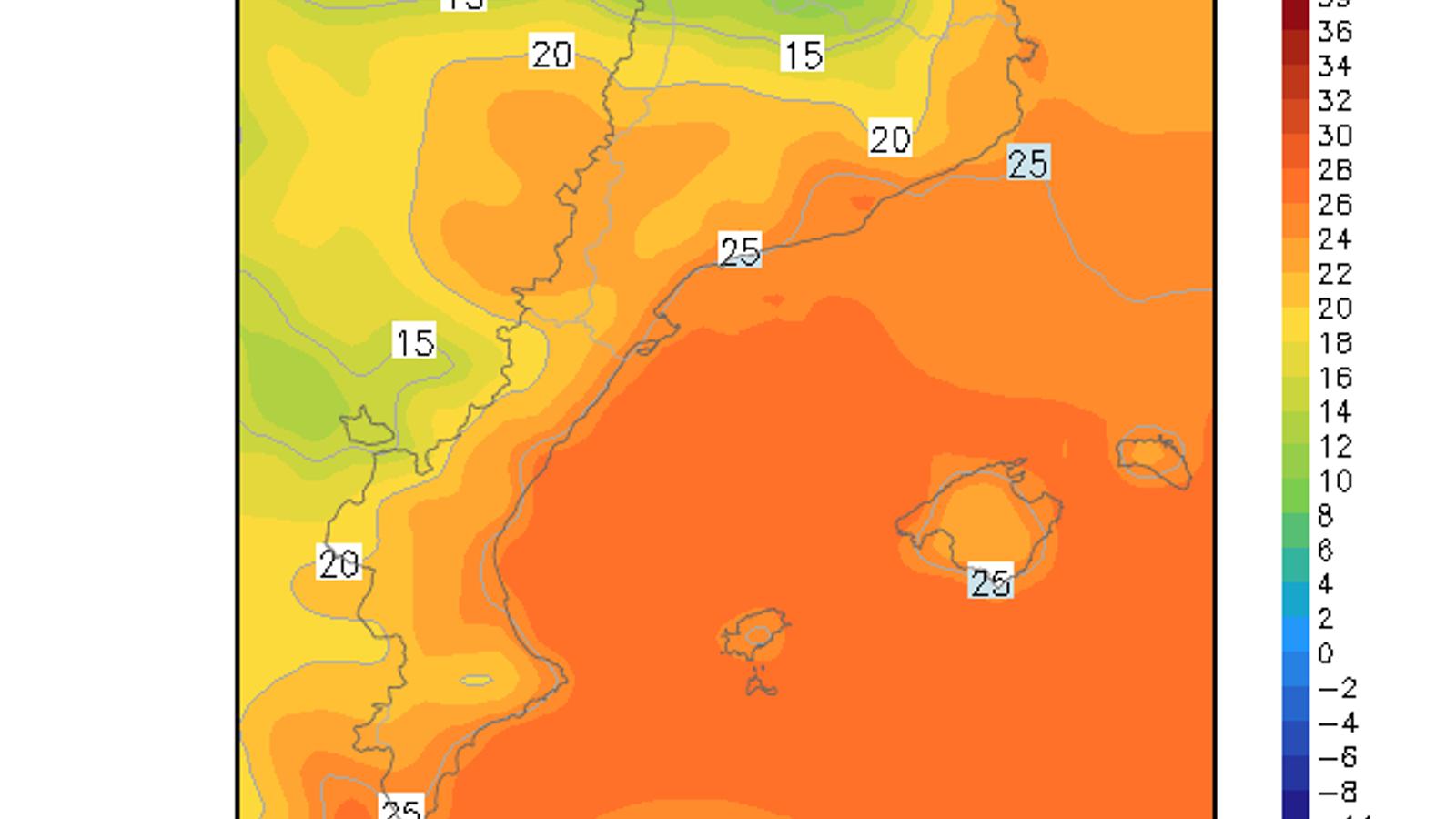 Temperatura mínima prevista per demà
