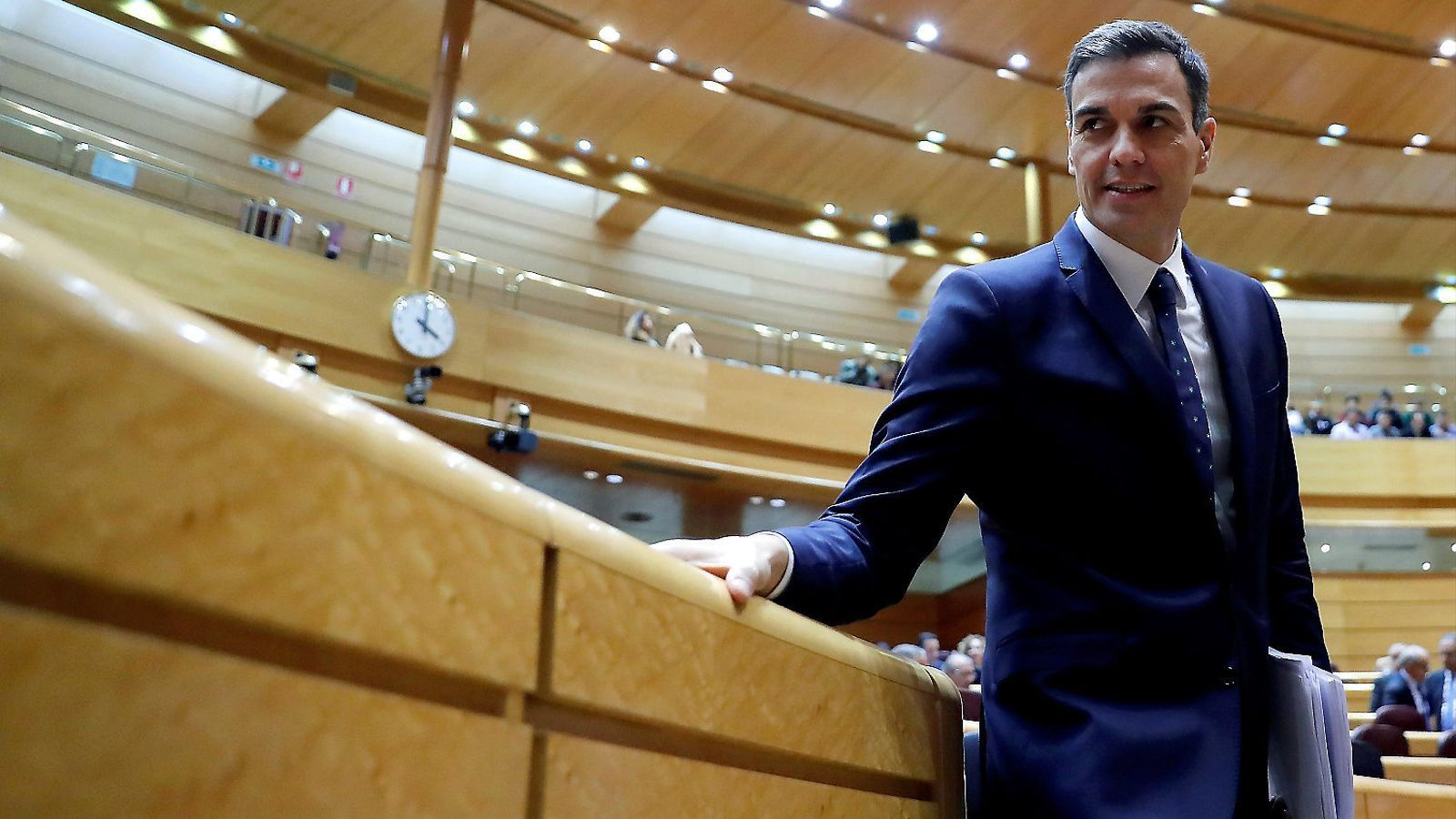 El president espanyol, Pedro Sánchez, al mes de desembre al Senat. / JUAN CARLOS HIDALGO / EFE