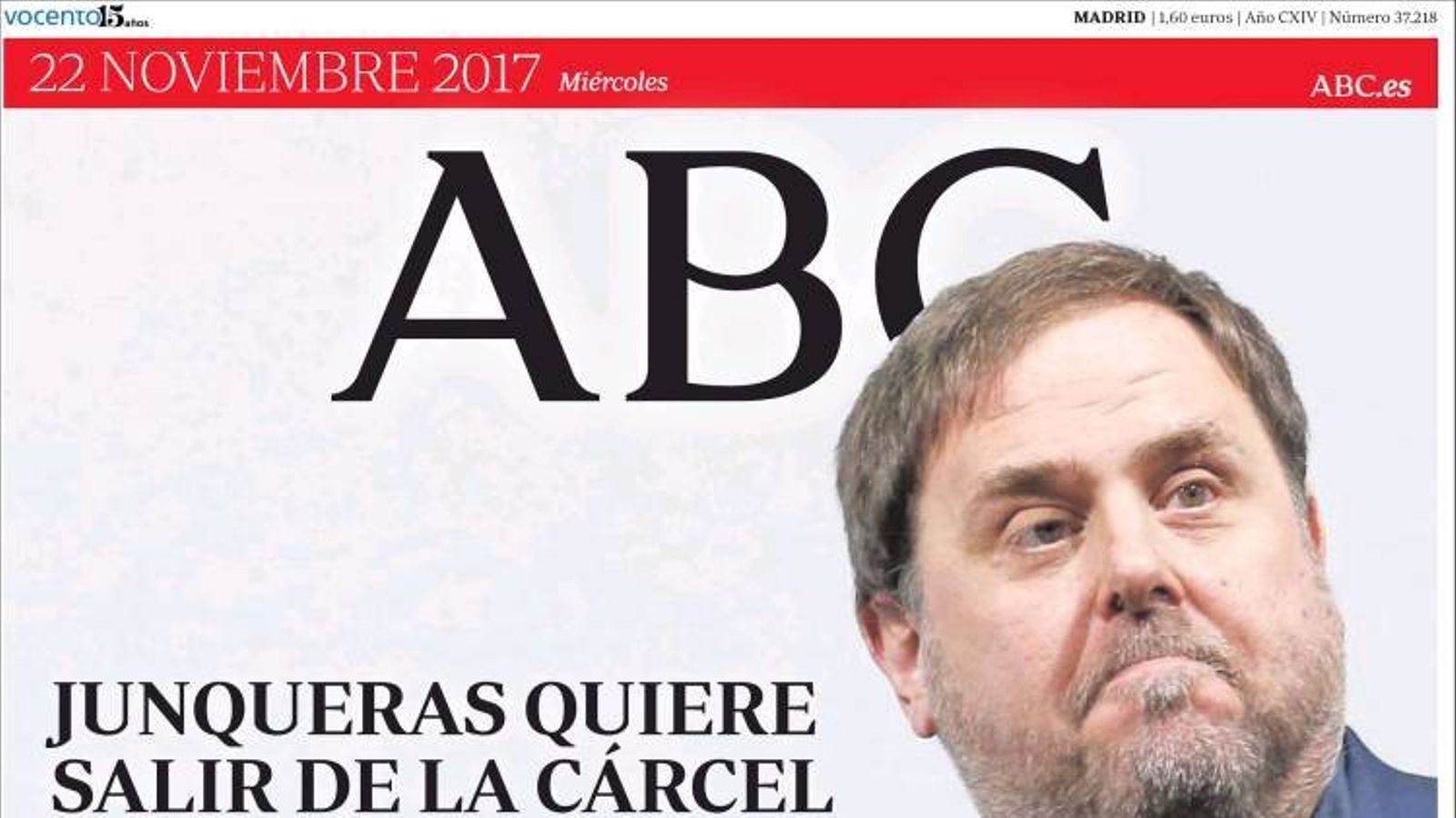 """""""Junqueras vol sortir de la presó sense acatar el 155"""", portada de l''Abc'"""