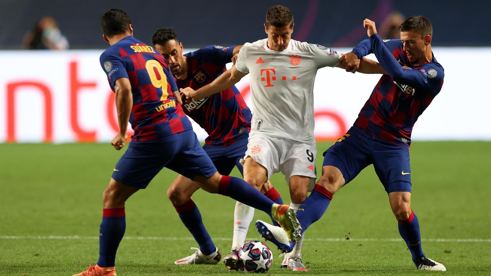 Imatge del partit contra el Bayern de Munich on els blaugranes perden 2-8