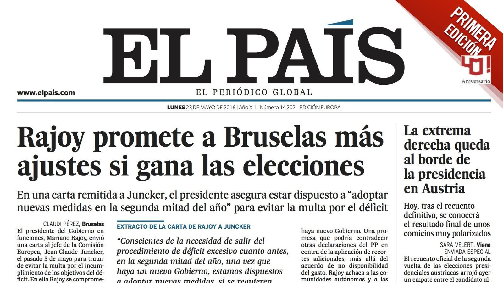 Primera edició de la portada d''El País'