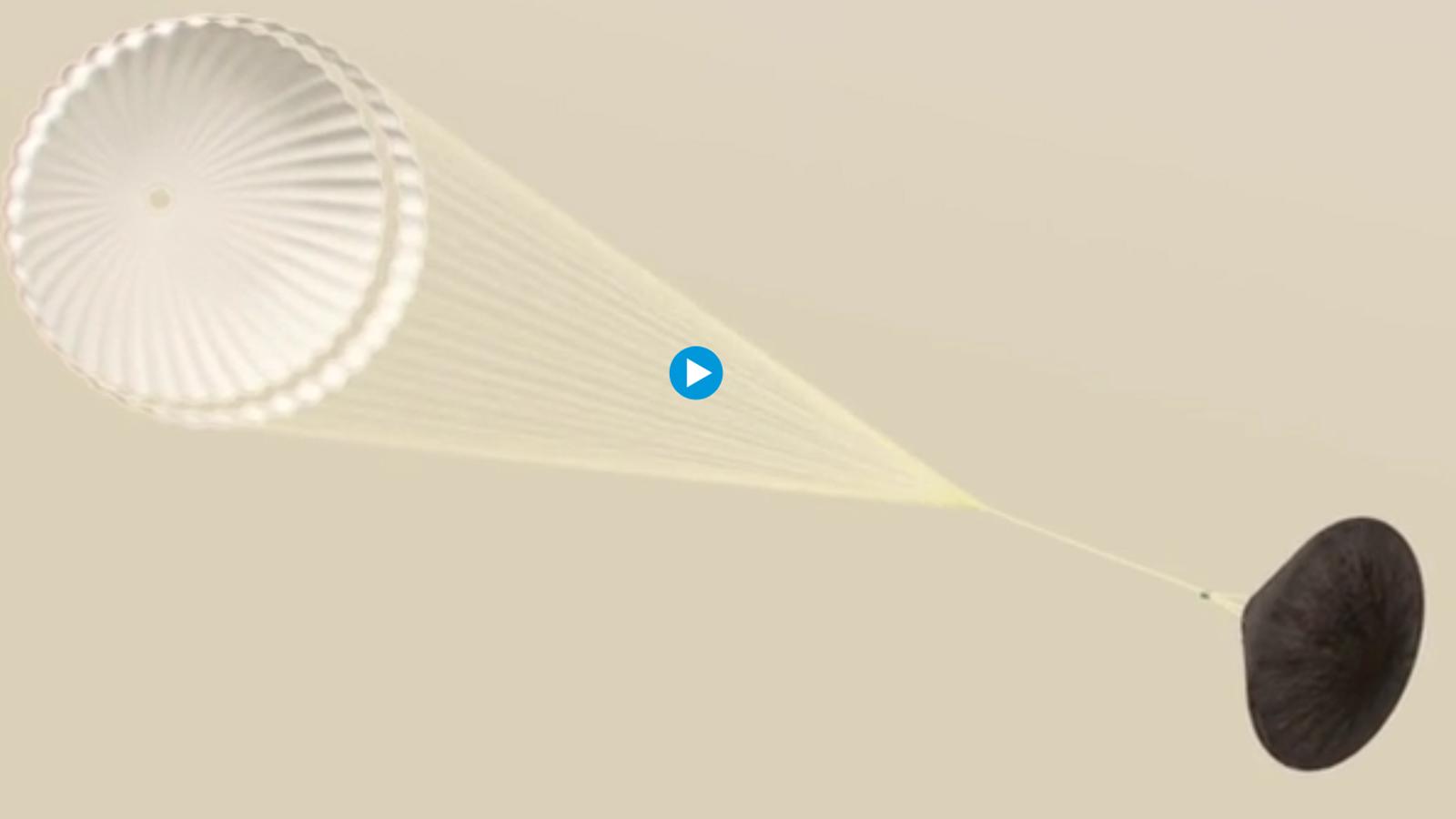 Recreació feta per l'ESA de l'aterratge del mòdul Schiaparelli sobre Mart