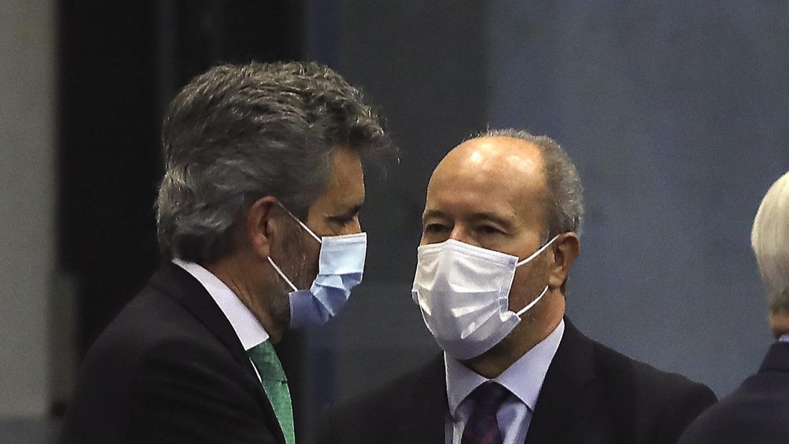 El ministre Juan Carlos Campo i el president del CGPJ, Carlos Lesmes.
